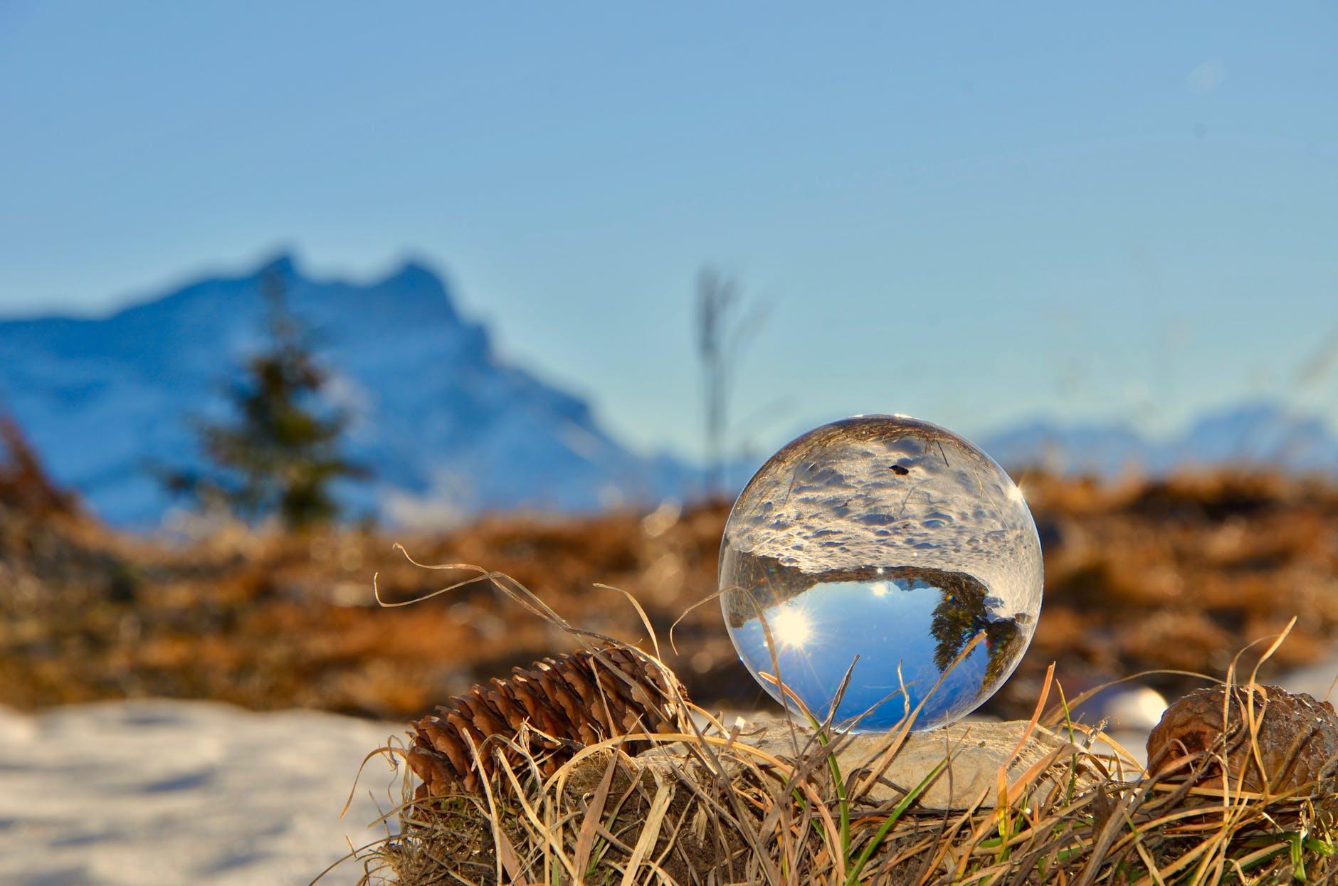glass ball on brown nest